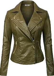 BodiLove Women's Slim Tailoring Faux Leather Zipper Moto Biker PU Bomber Jacket