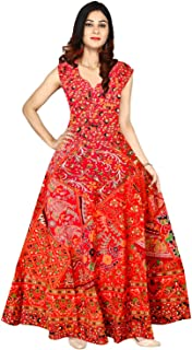 Indian 100% Cotton Vintage Block Print Long Mandala Dress for Women Red