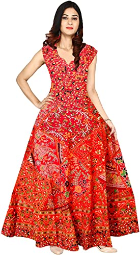 Women s Cotton Traditional Rajasthani Jaipuri Print One Piece Dress AFD 182 Multicolour Free Size