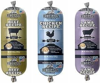 REDBARN Naturals Premium Dog Food Roll Variety Bundle - 3 Flavors (Lamb, Beef, and Chicken) 3 (Rolls Total) (10 oz Variety)