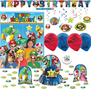 Super Mario Bros Birthday Party Decoration Pack with Scene Setter and Photo Props, Table Decorating Kit, 6 Balloons, Swirl Decorations, and Exclusive Pin By Another Dream