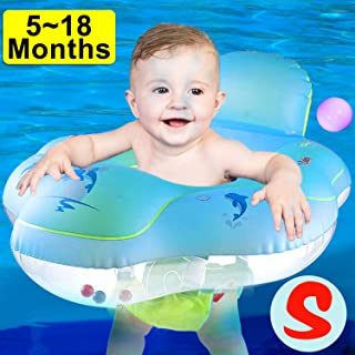 [ANTI ROLLOVER] Baby Pool Floats Swimming Ring with Safe Seat & Backrest, Inflatable Baby Swimming Float, Swimming Pool Accessories-Newborn Baby Kid Toddler Age 5-18Month