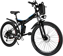 rainbod Electric Mountain Bike 26'' E-Bike with 36V 8AH/12AH Lithium-Ion Battery for Adults, 21 Speed Shock-Absorbing Mountain Bicycle