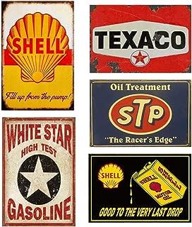 Mora color 5PCS Gas Motor Oil Antique Tin Signs, Vintage Garage Man Cave Retro Posters Bar Pub Wall Decor - 20X30cm