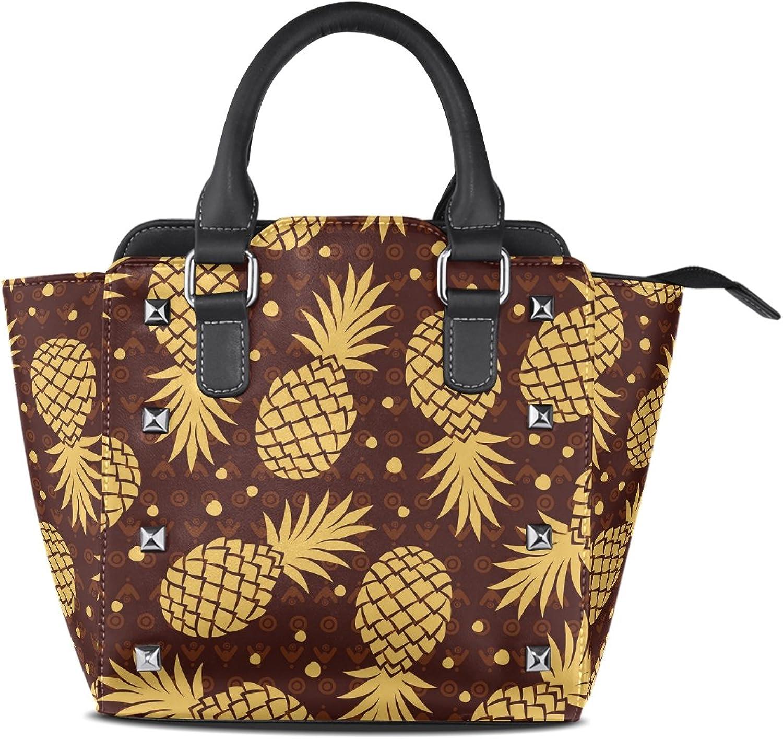 My Little Nest Women's Top Handle Satchel Handbag Vintage Pineapple Ladies PU Leather Shoulder Bag Crossbody Bag