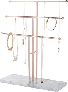 MyGift 3-Tier Rose Gold-Tone Metal T-Bar Necklace Display Stand with Stone Base