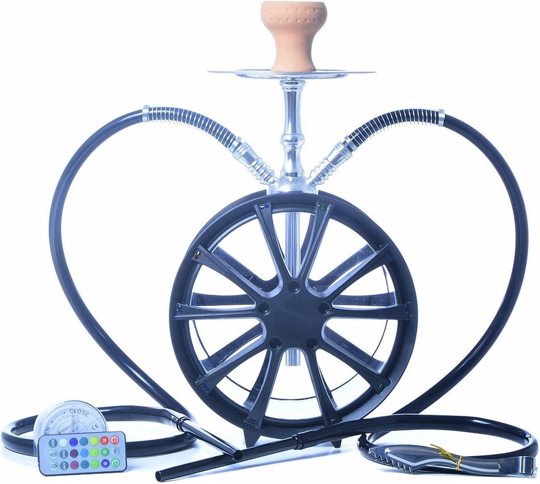2 Tubos Cool Windmill Hookah Set Acrylic Hookah Con Luz LED Y Accesorios Shisha Se Pueden Usar Para Dos Personas Al Mismo Tiempo B