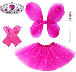 4 PC Girls Fairy Princess Costume Set with Wings, Tutu, Wand & Halo …