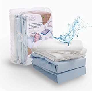 ALCUBE 4er Set aus wasserdichter Matratzenauflage und Baumwoll-Spannbettlaken für Baby und Kinder - Verschiedene Größen - blau 60x120 cm