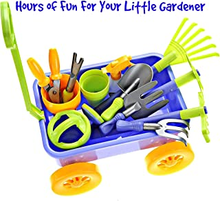Dimple Garden Wagon & Tools Toy Set Premium 15Piece Gardening Tools & Wagon Toy Set – Sturdy & Durable - Top Yd, Beach, Sand, Garden Toy - Great for Kids & Toddlers (Garden Toy Set)