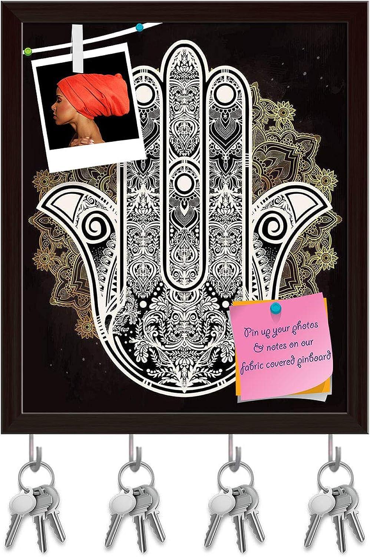 Artzfolio Hamsa Hand of Fatima Arabic Jewish Cultures D3 Key Holder Hooks   Notice Pin Board   Dark Brown Frame 16 X 19Inch