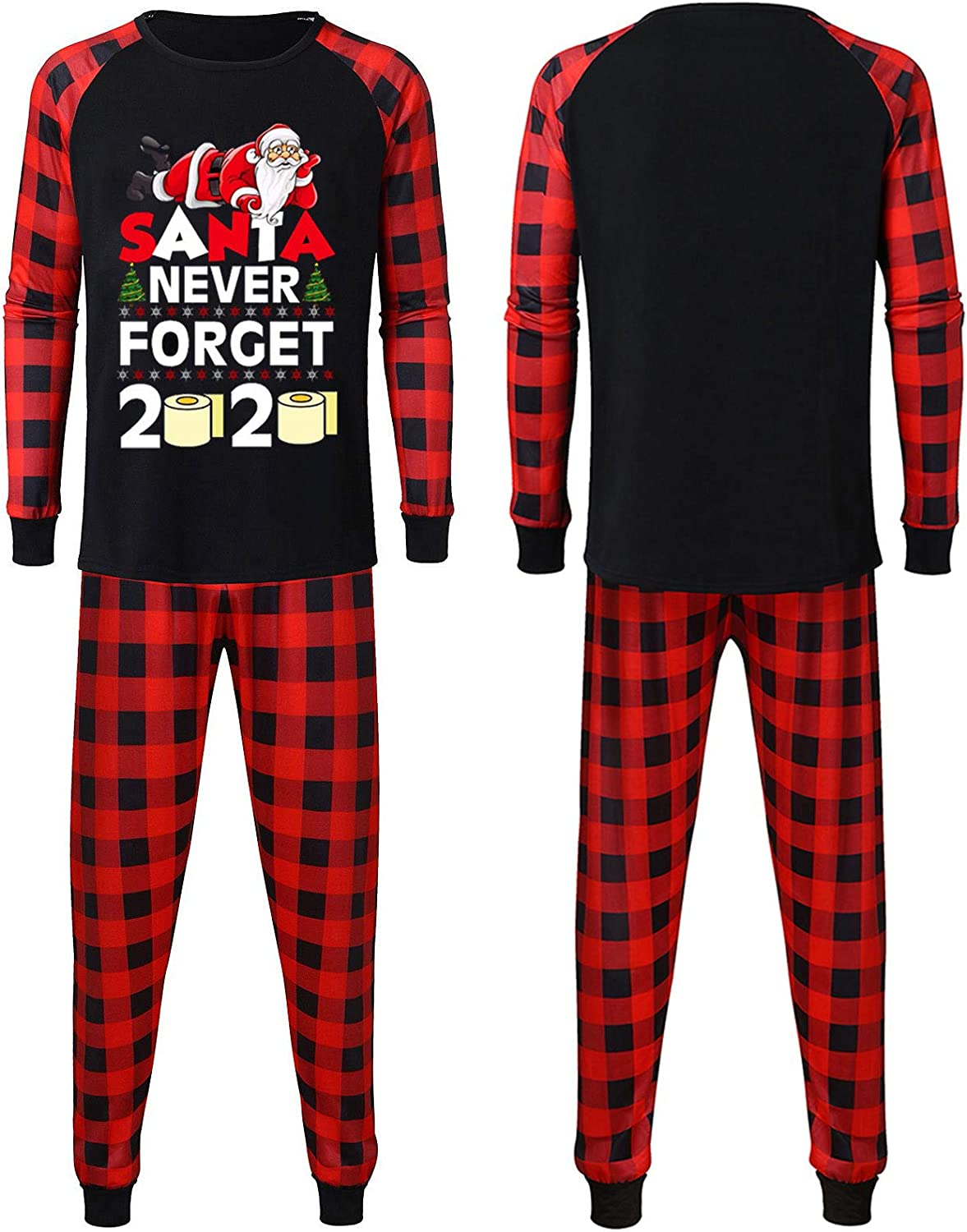Matching Family Christmas Pajamas Set Parent-Child Outfit Suit with Red Plaid,Xmas Nightwear Sleepwear for Man Women Girl Boy Baby