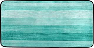 Kitchen Rugs Teal Turquoise Green Wood Design Non-Slip Soft Kitchen Mats Bath Rug Runner Doormats Carpet for Home Decor, 3...