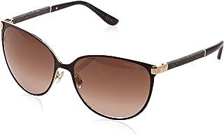 JIMMY CHOO POSIE Matte Black Gold Crystal Cat Eye Metal Sunglasses POSIE/S