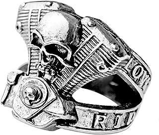Ring motorfiets biker zilver V Twin.