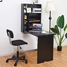 Tangkula Wall Mounted Table, Fold Out Convertible Desk, Multi-Functional Wall Mounted Laptop Desk, Writing Desk Home Office Desk with Large Storage Area (Black)