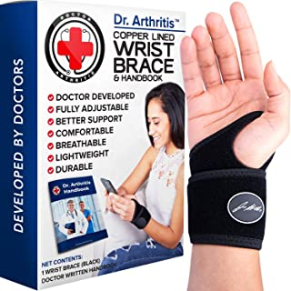 Doctor Developed Copper Lined Wrist Support / Carpal Tunnel Wrist Brace for Women &..