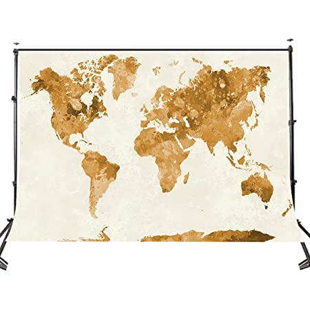 8x12 FT Map Vinyl Photography Backdrop,Continents of The World in Regions Lands Global International Theme Background for Photo Backdrop Baby Newborn Photo Studio Props