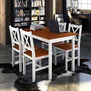 UnfadeMemory Conjunto de Mesa y 4 Sillas de Comedor Cocina,Muebles de Comedor,Madera de Pino,Silla 39x41x 85,5cm (Marrón y Blanco)