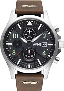 AVI-8 Men's Hawker Hurricane 45mm Brown Leather Band Steel Case Quartz Black Dial Analog Watch AV-4068-01