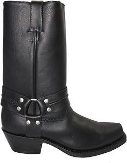 Grinders Harness Hi pour Hommes Boots Bottes Noir Cuir Véritable Enfilees Western Occidentale Cow-Boy