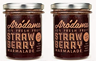 2 PACK - ARODAMA PREMIUM STRAWBERRY GREEK MARMALADE (JAM, SPREAD) , 7.8 OZ/ 220 GRS CRETAN PRODUCT 100% NATURAL NO PRESERVATIVES OR ADDITIVES AWARDED