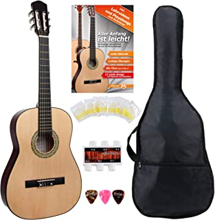 Classic Cantabile AS-851 7/8 concertgitaar starterset (complete beginnerset met klassieke gitaar, Gigbag tas, nylon snare...