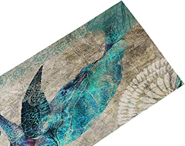Sea Table Runner-Cotton linen-Long 72 inche Beach Dresser Scarves,Turtle/Octopus/Whale Coastal Tablerunner for Kitchen Coffee