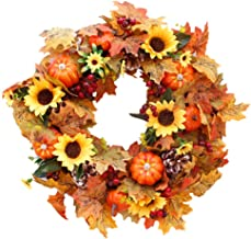 Fall Wreaths for Front Door 20 Inch Artificial Christmas Wreath Decor Autumn Harvest Wreaths with s Maple Leaf and Berry f...