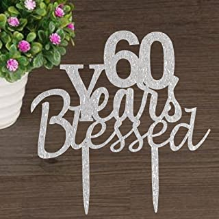 60 years blessed cake topper