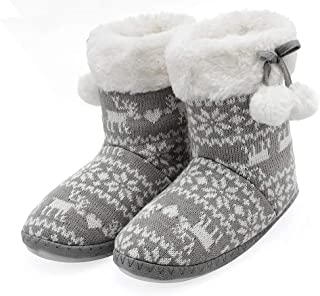 festooning Little Kids Girls Winter Warm Soft Faux Fur Lined Knitted Bedroom House Boots Booties Slippers with Pom Poms