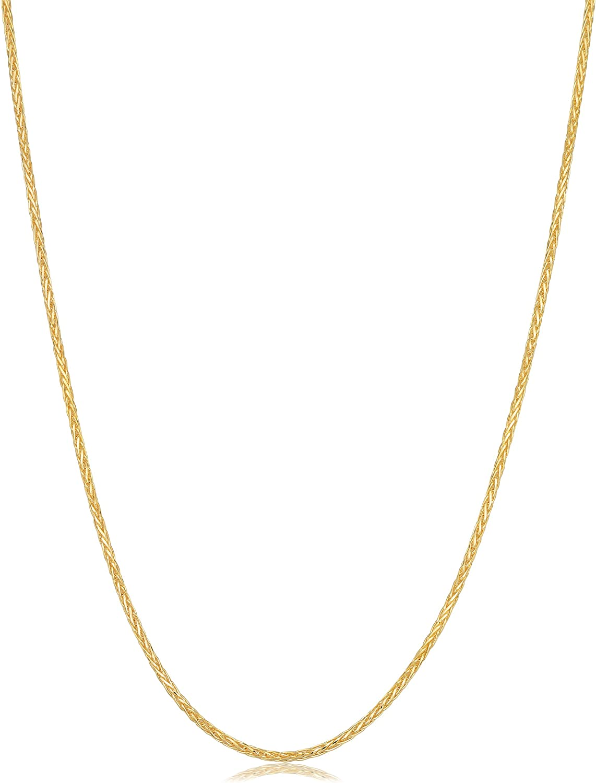 Kooljewelry 14k Yellow Gold 0.75 mm Diamond-Cut Round Wheat Chain Necklace