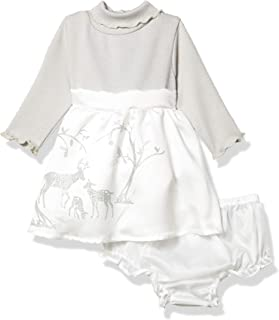 Youngland Baby-Girls Turtle Neck Ribbed Glitter Applique Mikado Dress with Diaper Cover Long Sleeves Dress