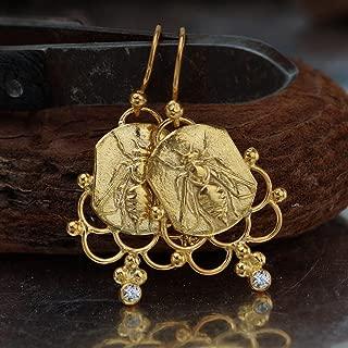 925 Sterling Silver Bee Coin W/Topaz Earrings Turkish Fine Jewelry By Omer Women Earrings Handcrafted Turkish Designer Jewelry