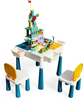 Multi Activity Kids Table & Chairs Set with Storage Compatible Bricks Toy with 144Pcs Large Building Blocks Drawing Board ...
