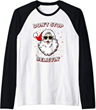 Don't Stop Believing Santa Claus Christmas Funny Snowflake Raglan Baseball Tee