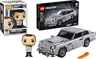 LEGO License to Build Goldfinger Aston Martin Model DB5 Car Bundled with Agent James Bond Sean Connery Figure Vinyl Spy #518 Pop Character 007 Collectibles 2 Items Creator 10262