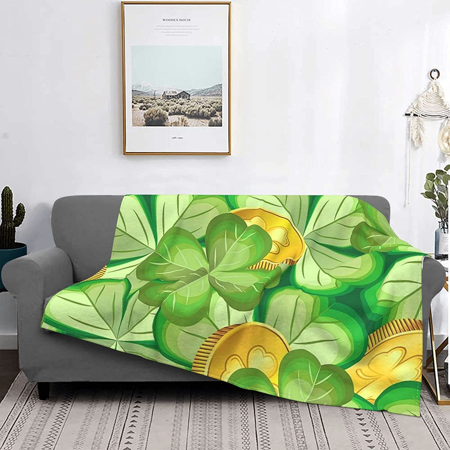 WSYC Ultra-Soft Micro Fleece Blanket Max 63% OFF for Four Couch Sale Clover Leaf