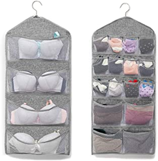 CAMSTIC Dual-Sided Closet Hanging Organizer with 16 Mesh Pockets for Underwear, Bras, Socks, Accessories, Grey