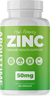 About Time High Potency Zinc Immune Health Support (50mg per Serving) - 60 Capsules