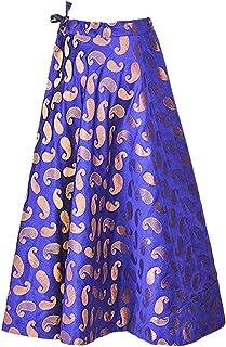 SNEH Women's Paisley Chanderi Brocade Skirt (Blue,Free Size)