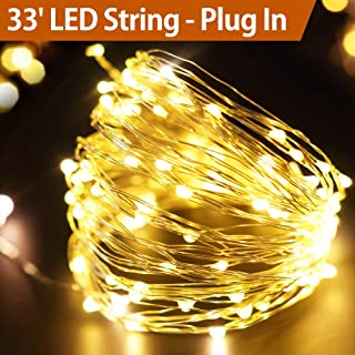 Bright Zeal 33' Ft Long Bright Warm White LED Lights (Silvery Wire, Plug in Adapter Included, 6 Hour Timer, 100 LEDs) - Warm White LED String Lights AC Adaptor - Indoor Outdoor Decor 50211