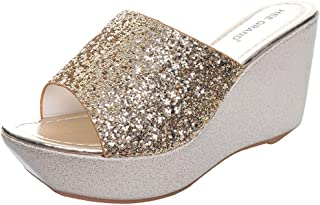 f35966751cc570 Yellow Tree Company Sequined Bling Women Wedges Slides Sandals Gold