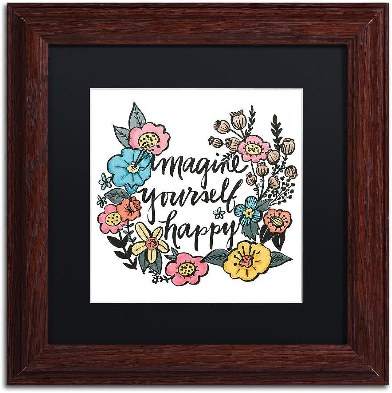 Trademark Fine Art Imagine Yourself Happy color by Elizabeth Caldwell, Black Matte, Wood Frame, 11  X 11