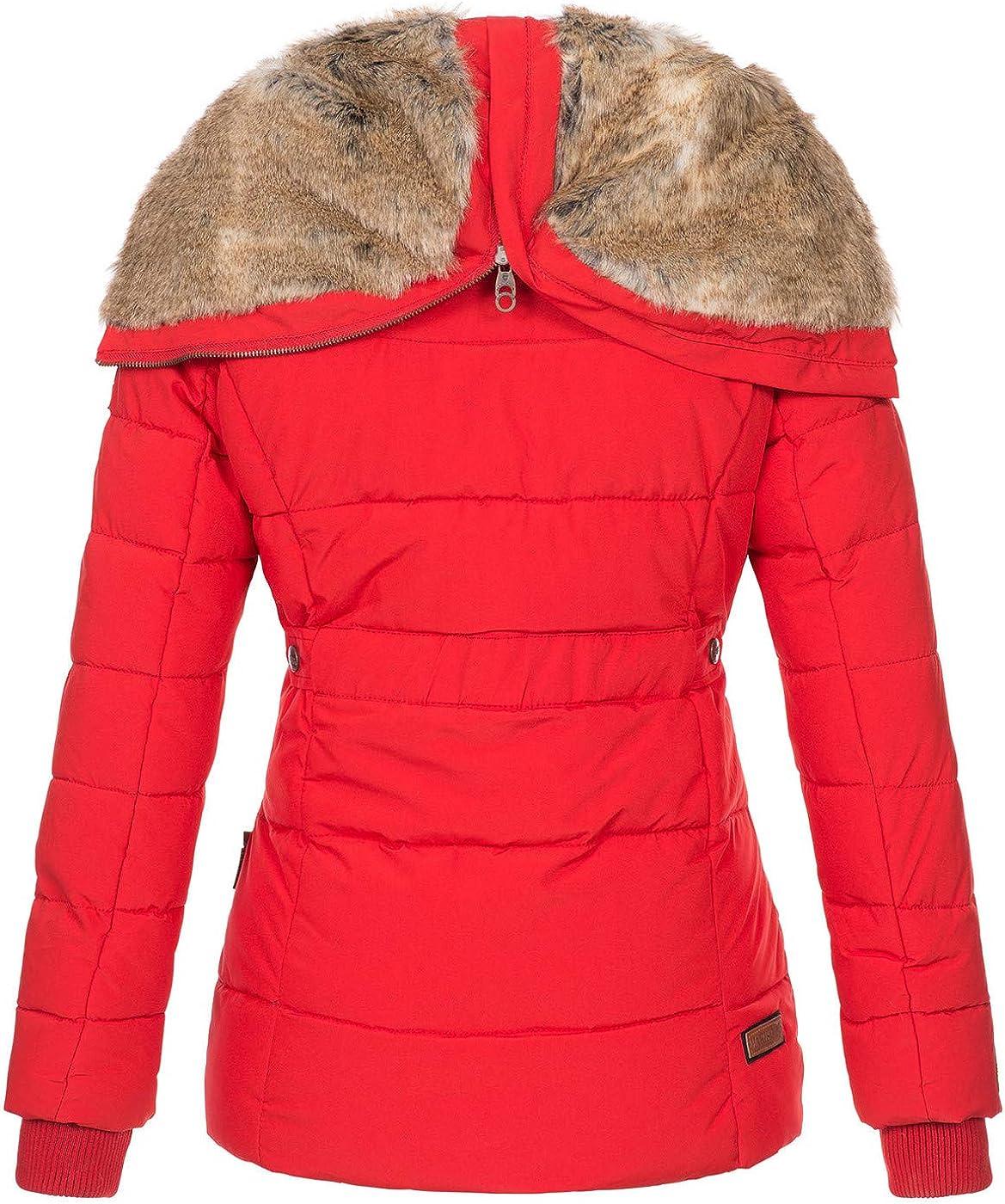 Marikoo warme Damen Winter Jacke Winterjacke Steppjacke gef/üttert Kunstfell B658