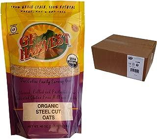 GF Harvest Gluten Free Certified Organic Whole Grain Steel Cut Oats, 40 Ounce Bag, 6 Count