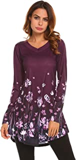 Zeagoo Women's Long Sleeve Floral Printed V Neck A Line Loose Fit Flared Tunic Tops