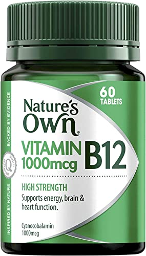 Nature's Own High Strength Vitamin B12 1000mcg - Supports Nervous System - Maintains Heart Health and Function, 60 Ta...