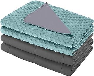 eletecpro Gewichtsdecke mit Bezug, Weighted Blanket 200x220cm 11,3kg mit Öko-Tex-Standard 100 Therapiedecke 100% Baumwolle Schwere Decke mit Glasperlen für Schlaftiefe zu Verbessern,Hellblau