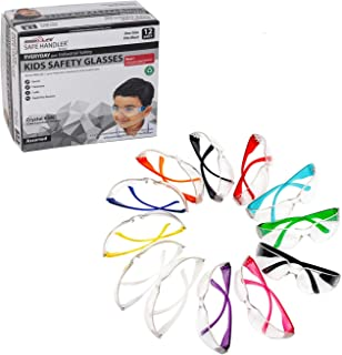 BISON LIFE Kids Protective Safety Glasses   Impact and Ballistic Resistant Lens, Clear Polycarbonate Lens Color Temple, Child Youth Size (Box of 12 Colors - Variety Pack)